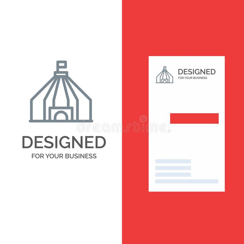 Zelt, Zelt, Zirkus Grey Logo Design und Visitenkarte-Schablone stock abbildung
