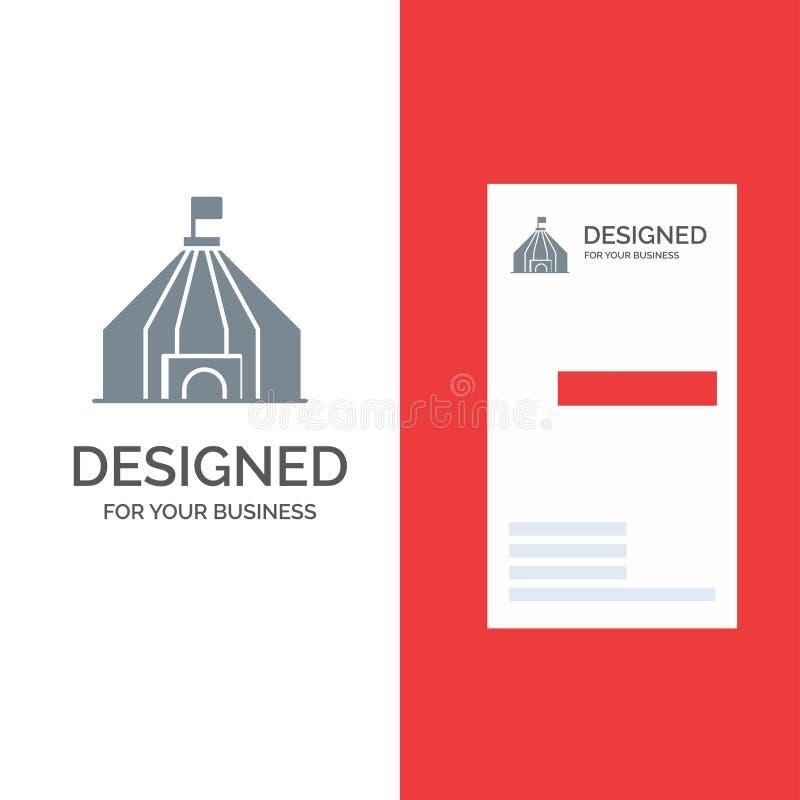 Zelt, Zelt, Zirkus Grey Logo Design und Visitenkarte-Schablone vektor abbildung