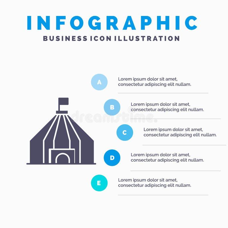 Zelt, Zelt, Zirkus Infographics-Darstellungs-Schablone 5 Schritt-Darstellung stock abbildung