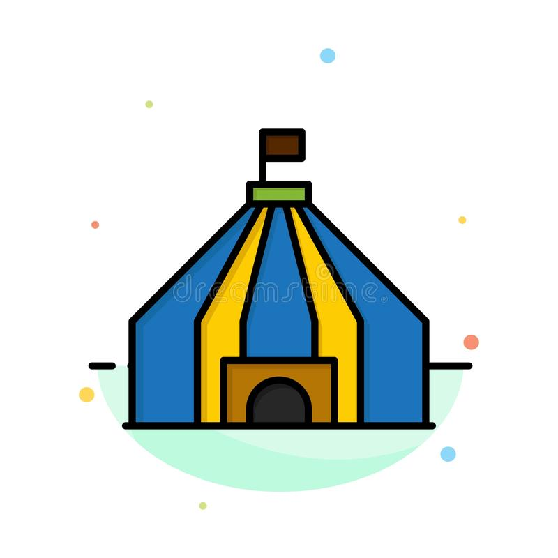 Zelt, Zelt, Zirkus-Zusammenfassungs-flache Farbikonen-Schablone lizenzfreie abbildung