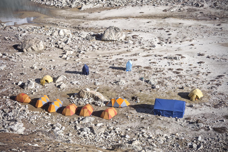 Zelte in der Region niedrigen Lagers Everest, Nepal stockfoto