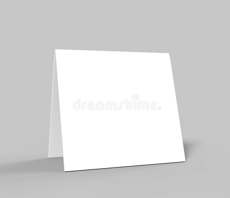 Zeltkarte der leeren Tabelle für Designdarstellung oder Spott entwerfen oben leeres Weiß 3d überträgt Illustration stock abbildung