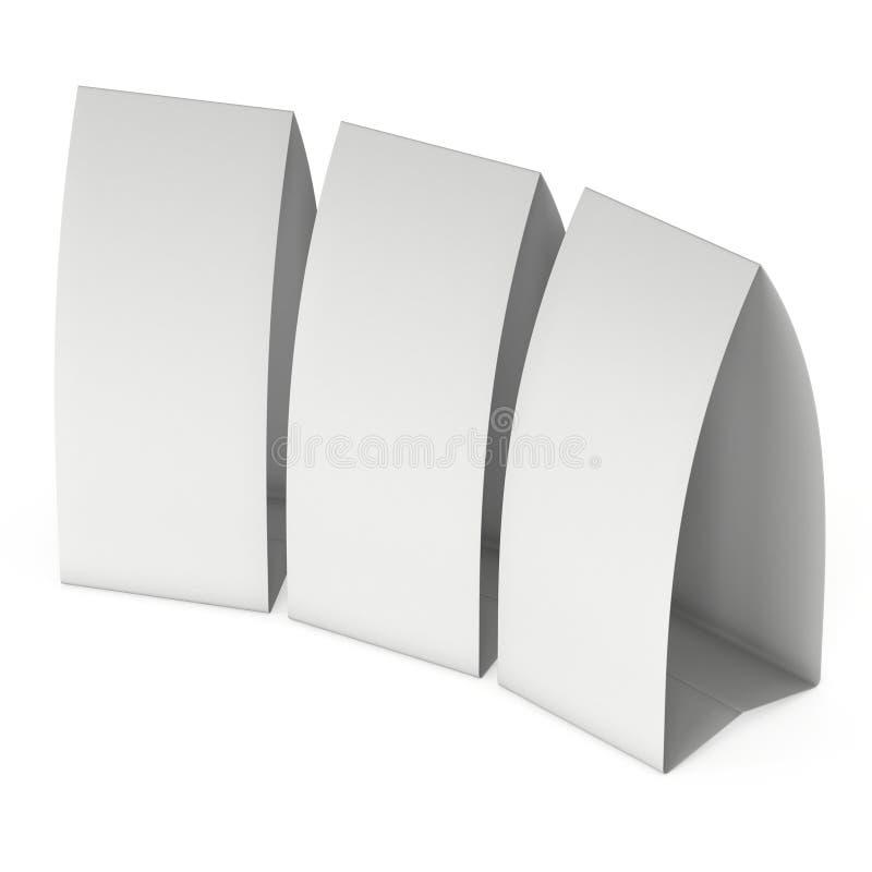 Zeltkarte des leeren Papiers 3d übertragen lizenzfreie abbildung