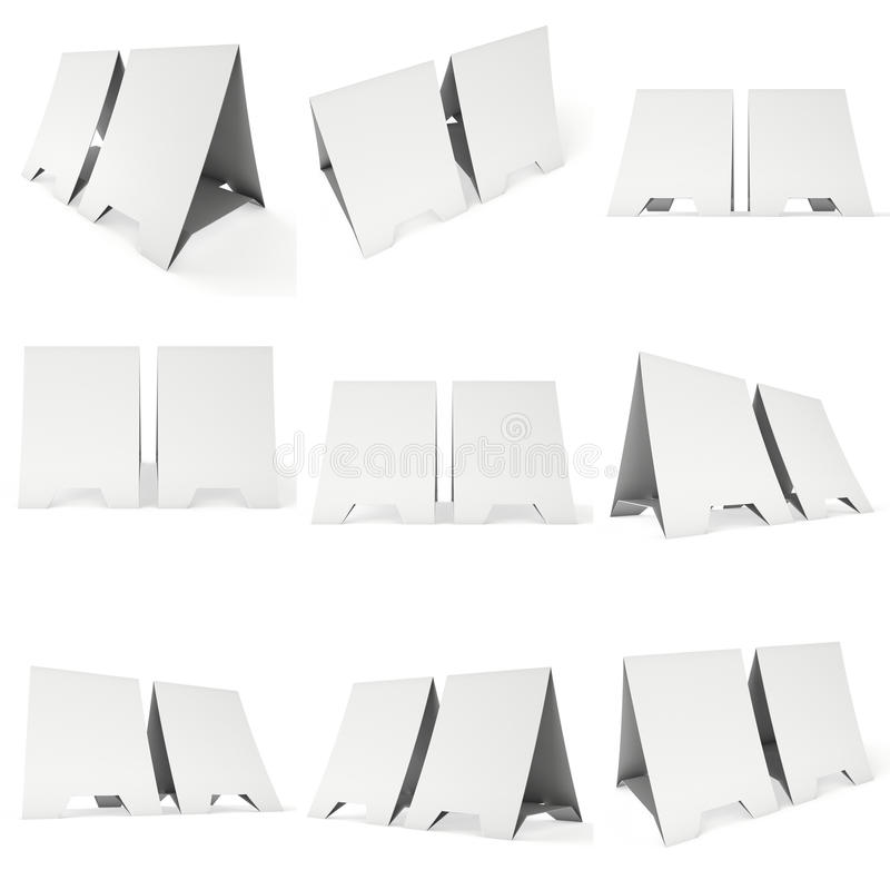 Zeltkarten des leeren Papiers 3d übertragen lizenzfreie abbildung