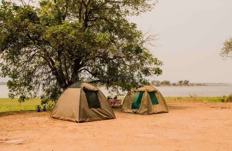 Zeltlager in der Savanne am See von Simbabwe, Südafrika lizenzfreie stockfotografie