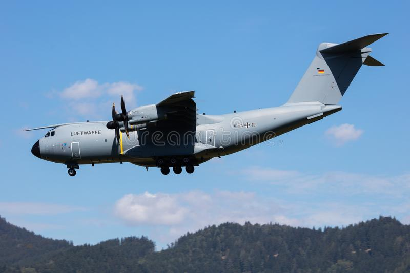 German Air Force Luftwaffe Airbus Military A400M Atlas 54+19 military transport plane arrival and landing for Airpower19 Zeltweg stock photo