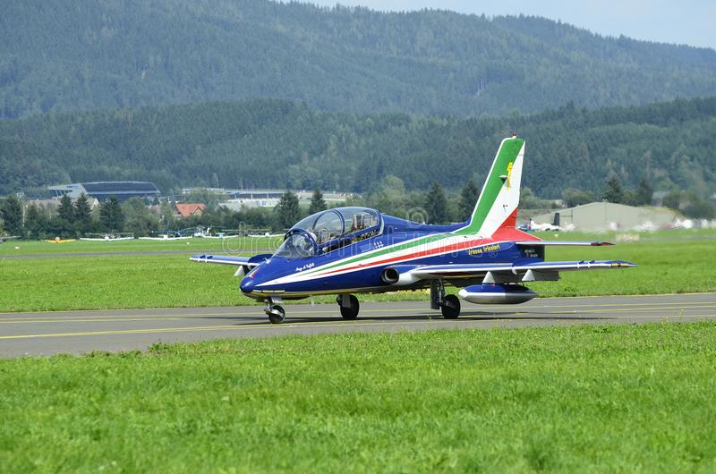 Airshow, Airpower 16,. Zeltweg, Styria, Austria - September 02, 2016: Aermacchi MB-339 PAN from Frecce Tricolori by public airshow named airpower 16 stock image