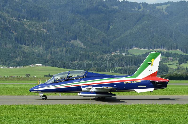 Airshow, Airpower 16,. Zeltweg, Styria, Austria - September 02, 2016: Aermacchi MB-339 PAN from Frecce Tricolori team by public airshow named airpower 16 royalty free stock photo