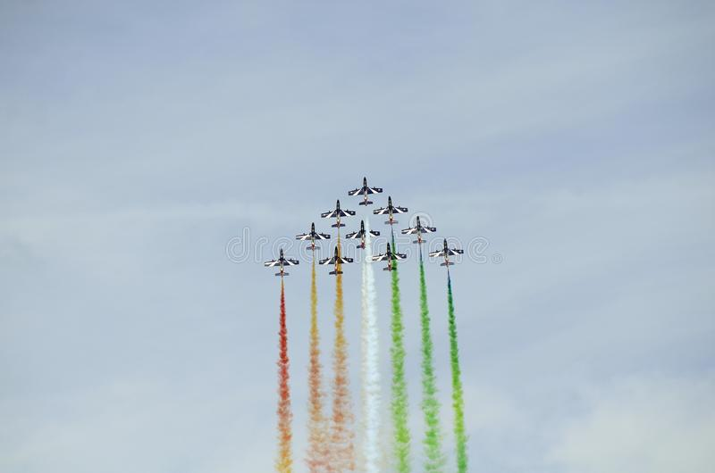 Airshow, Airpower 16,. Zeltweg, Styria, Austria - September 02, 2016: Aerobatic formation from Italian Frecce Tricolori by public airshow named airpower 16 royalty free stock photos