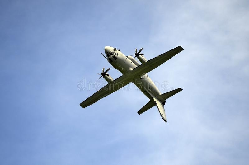 Airshow, Airpower 16,. Zeltweg, Styria, Austria - September 02, 2016: Display with looping of military transporter Spart an C27J of Italian Air Force by public royalty free stock images