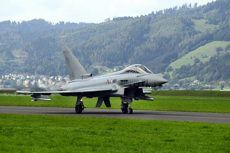 Airshow, Airpower 16,. Zeltweg, Styria, Austria - September 02, 2016: Eurofighter Typhoon from Austrian air force by public airshow named airpower 16 royalty free stock photography