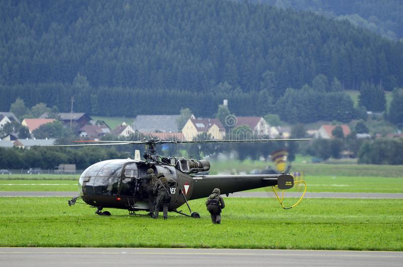 Airshow, Airpower 16,. Zeltweg, Styria, Austria - September 02, 2016: Field exercise with Alouette helicopter by public airshow named airpower 16 stock images