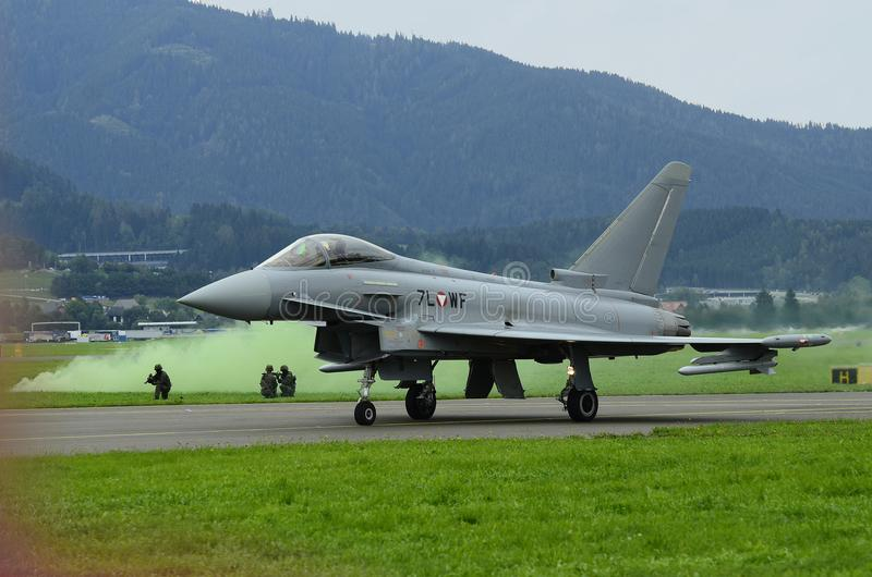 Airshow, Airpower 16,. Zeltweg, Styria, Austria - September 02, 2016: Field exercise with Eurofighter jet by public and entrance free airshow named airpower 16 stock images