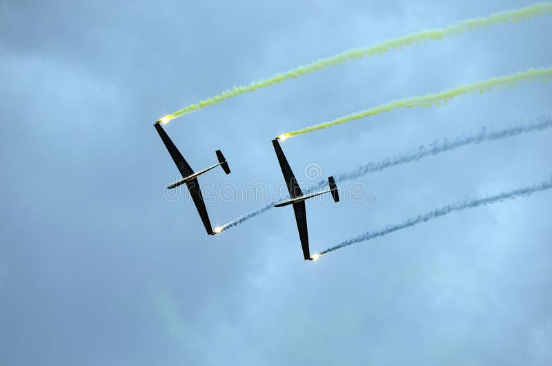 Airshow, Airpower 16,. Zeltweg, Styria, Austria - September 02, 2016: Formation flight with LET L-13 Blanik gliders by public airshow named airpower 16 stock images