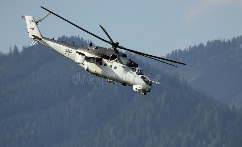Airshow, Airpower 16,. Zeltweg, Styria, Austria - September 02, 2016: Helicopter of Czech Republic - Air Force Mil Mi-24V by public airshow named airpower 16 stock images