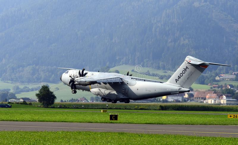Airshow, Airpower 16,. Zeltweg, Styria, Austria - September 02, 2016: Military transporter Airbus A400 by public airshow named airpower 16 stock photography