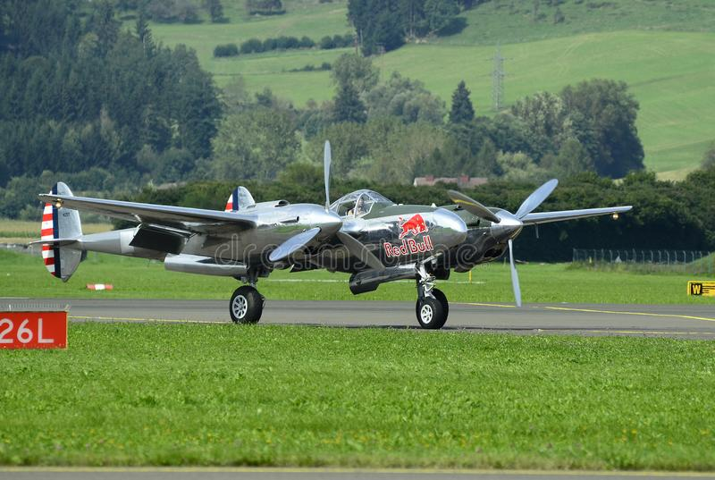 Airshow, Airpower 16,. Zeltweg, Styria, Austria - September 02, 2016: Vintage aircraft Lockheed P38 Lightning from WWII by public airshow named airpower 16 royalty free stock images