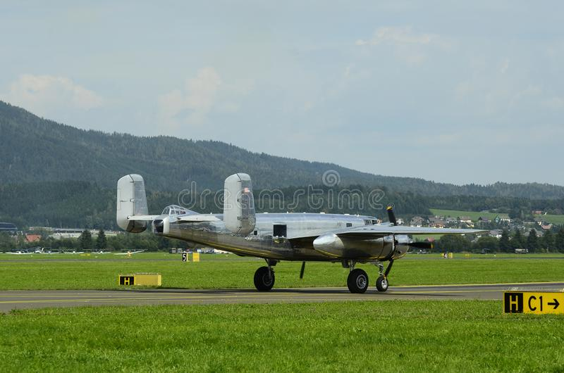 Airshow, Airpower 16,. Zeltweg, Styria, Austria - September 02, 2016: Vintage bomber aircraft Mitchell B-25 by public airshow named airpower 16 stock photography