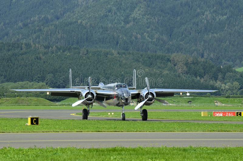 Airshow, Airpower 16,. Zeltweg, Styria, Austria - September 02, 2016: Vintage bomber aircraft Mitchell B-25 by public airshow named airpower 16 royalty free stock images
