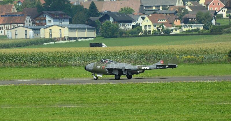 Airshow, Airpower 16,. Zeltweg, Styria, Austria - September 02, 2016: Vintage jet airplane De Havilland Vampire by public airshow named airpower 16 stock photo