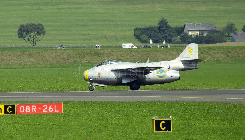 Airshow, Airpower 16,. Zeltweg, Styria, Austria - September 02, 2016: Vintage jet fighter Saab J29F Tunnan by public airshow named airpower 16 stock images