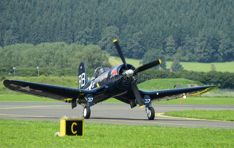 Airshow, Airpower 16,. Zeltweg, Styria, Austria - September 02, 2016: Vintage WWII fighter aircraft Vought F4U Corsair by public airshow named airpower 16 stock photos