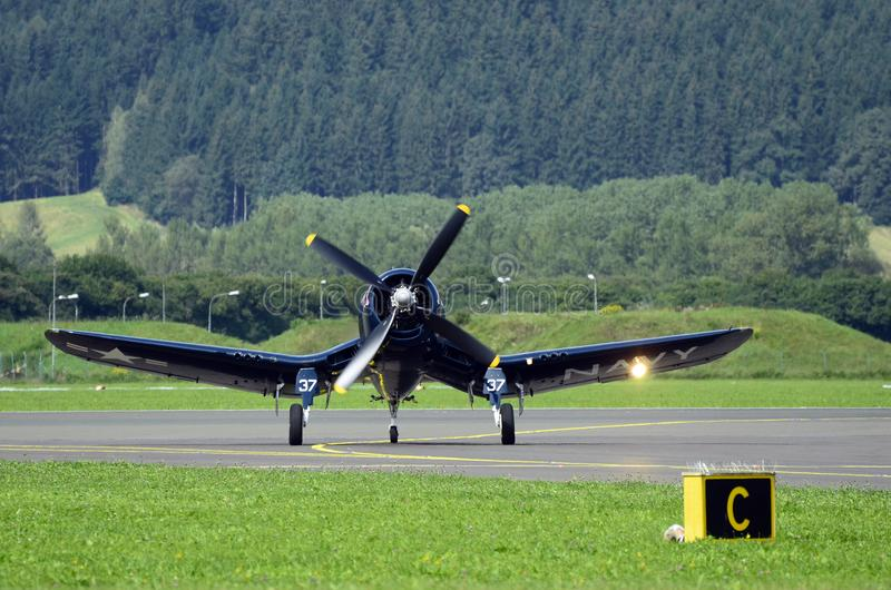 Airshow, Airpower 16,. Zeltweg, Styria, Austria - September 02, 2016: Vintage WWII fighter aircraft Vought F4U Corsair by public airshow named airpower 16 stock photo
