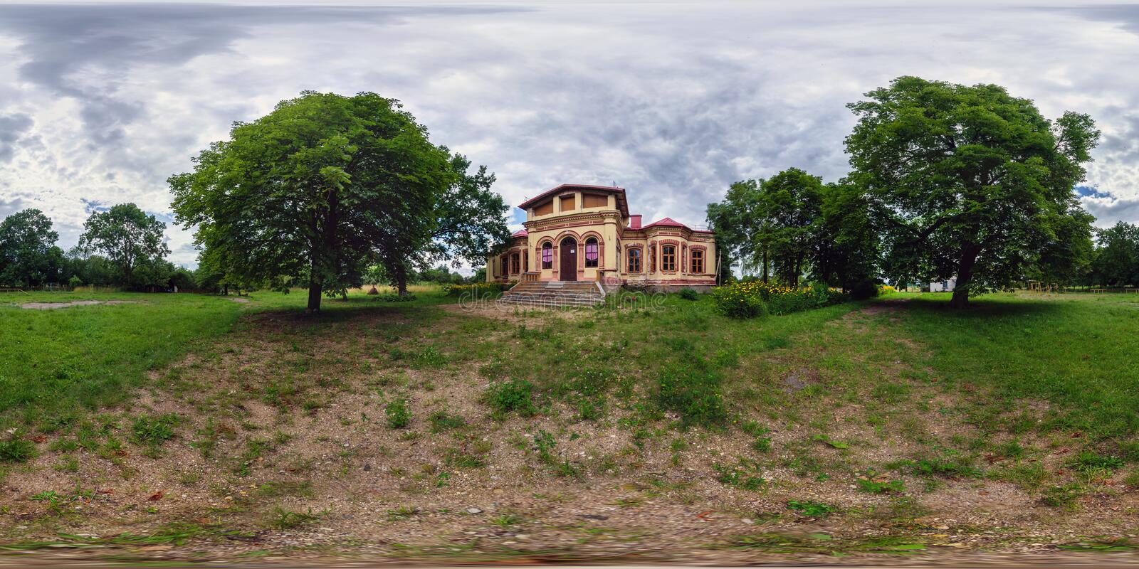 ZELVA, BELARUS - JULY 15, 2017: Full spherical 360 degrees seamless panorama in equirectangular equidistant projection, panorama. In beautiful vintage vacation royalty free stock photography