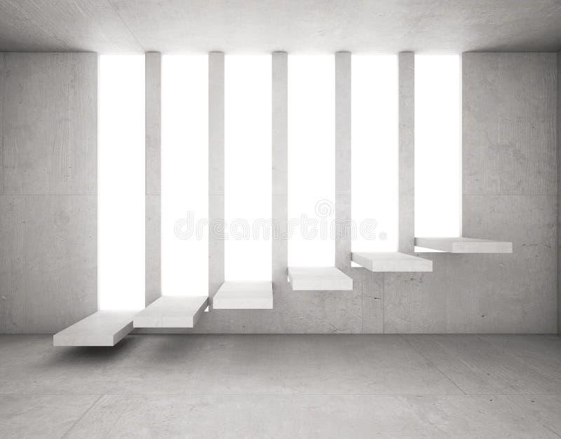 Zement-Treppe hervorgehoben auf öffnendem Beton lizenzfreie abbildung