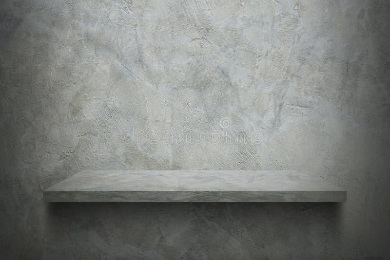 Zementwand mit Regal für Muster stockfoto