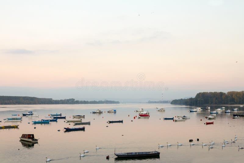 Zemun Quay Zemunski Kej en Belgrado, Serbia, en el río Danubio, visto en otoño, en la puesta del sol fotografía de archivo libre de regalías