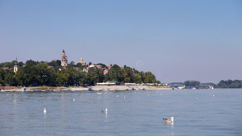Zemun, Sérvia, vista do rio Danúbio imagem de stock royalty free