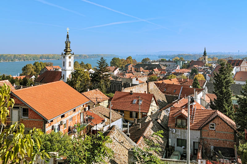 Zemun, Serbia. View of the St. Nicholas Church, Danube and Belgrade. View of the St. Nicholas Church, Danube river and Belgrade from the Gardos hill in Zemun stock photography
