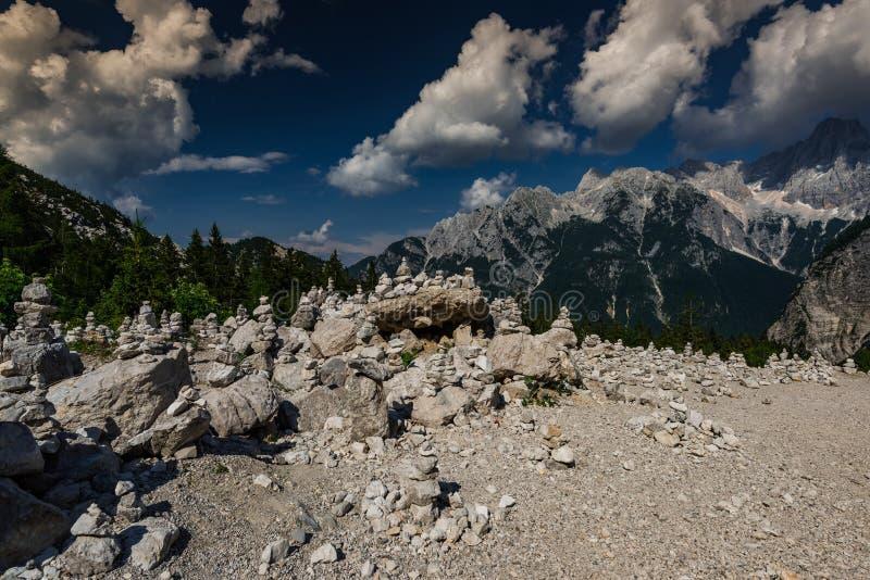 Zen balance rock towers made in Triglav Park, Slovenia.  royalty free stock photography