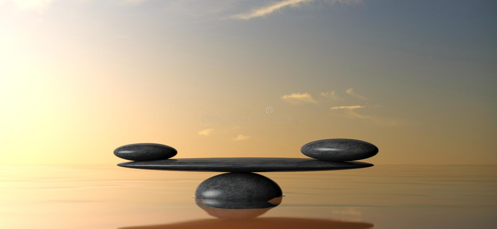 Zen balancing stones on water, sky on sunset background. 3d illustration royalty free illustration