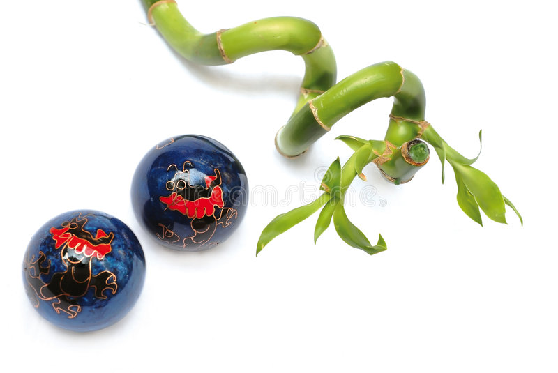 Zen Balls And Bamboo Royalty Free Stock Photos