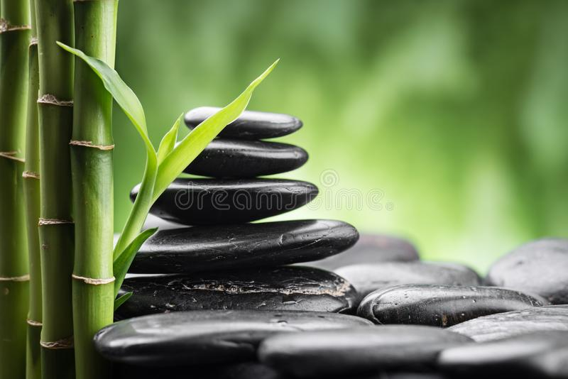 Zen basalt stones and bamboo stock images