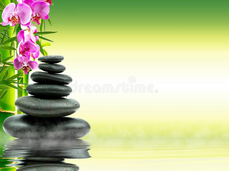 Zen basalt stones with green bamboo on water. Spa and Wellness concept. stock photo
