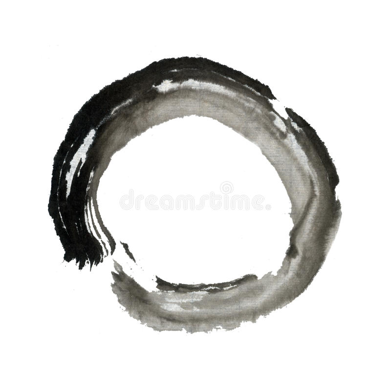 Zen brush stroke circle ring Eastern art. Abstract circular form brush art. Hand painted with ink and water on paper. Oriental design concept vector illustration