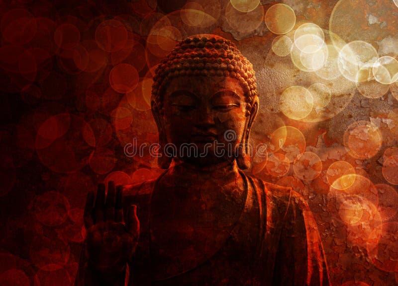 Zen Buddha Statue Raised Palm rouge en bronze image libre de droits