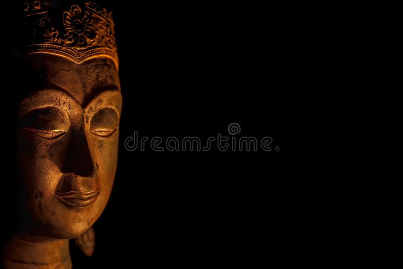 Zen Buddhism. Spiritual enlightenment of serene Buddha head in m. Editation. Mindfulness and spirituality image with black background copy-space stock images