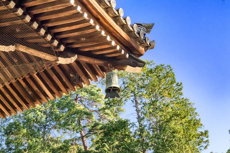 Zen Buddhism temple architecture details with traditional bell at Nanzen-ji temple in Kyoto royalty free stock photography