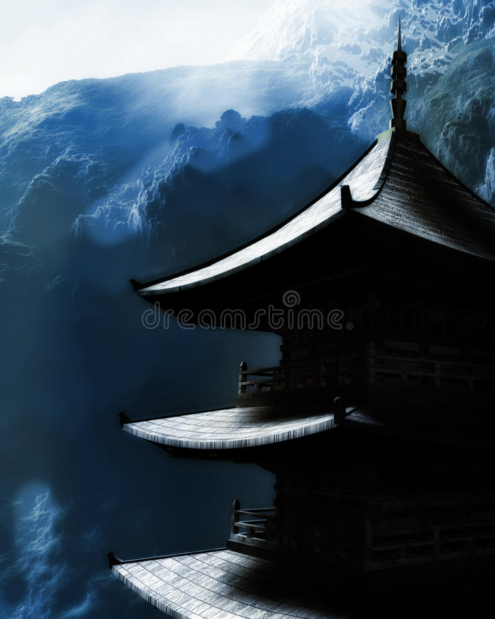 Download Zen Buddhist Temple In The Mountains Stock Illustration - Image: 26805748