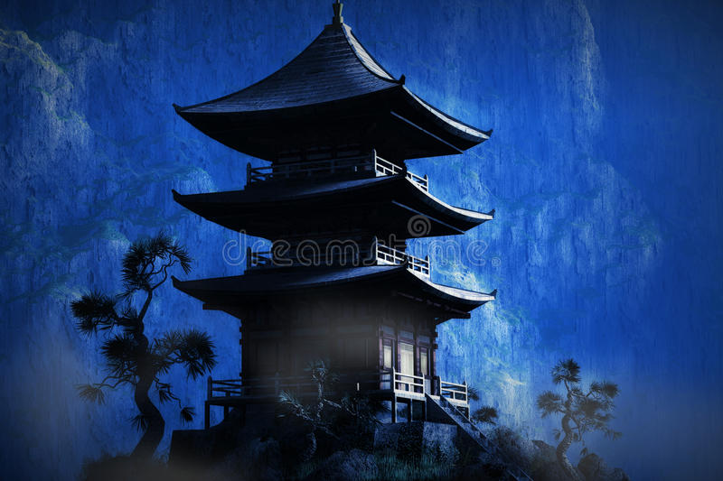 Download Zen Buddhist Temple In The Mountains Stock Illustration - Image: 26805786