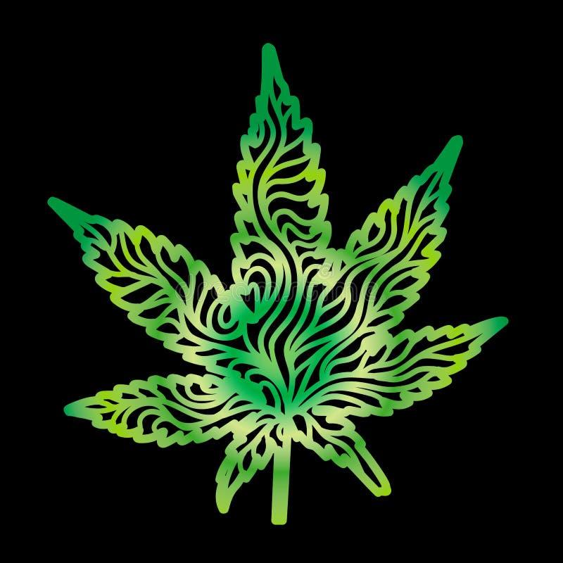 Zen Cannabis Leaf Hand-Drawn verde ilustración del vector