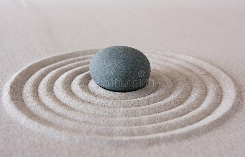 Zen circle. Detail of zen sand garden