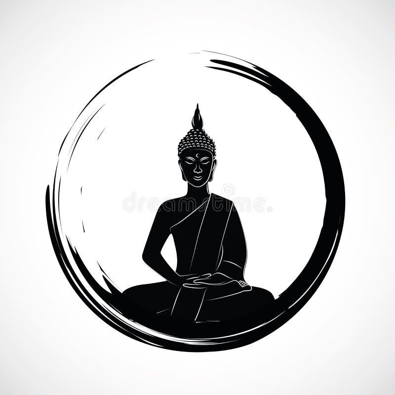 Zen circle with meditation buddha silhouette royalty free illustration