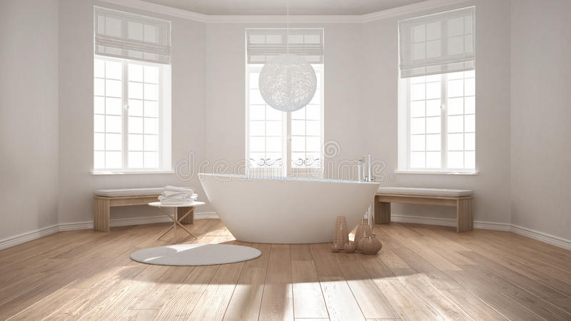 Download Zen Classic Spa Bathroom With Bathtub Minimalist Scandinavian I Stock Illustration