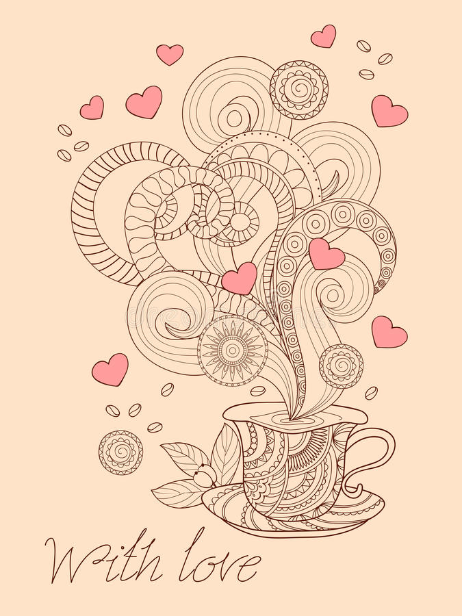 Zen coffee with love stock illustration
