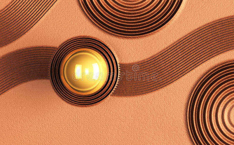Zen concept. A background texture pattern of circle and arc into a copper colored stone surface 3D render., Zen concept stock illustration